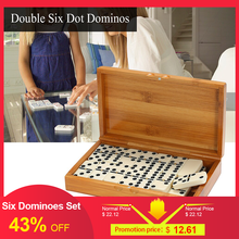 NEW Double Six Dominoes Set Entertainment Recreational Travel Game Blocks Wooden Building Learning Educational Toy Dot Dominoes dominoes st tempest pack ne