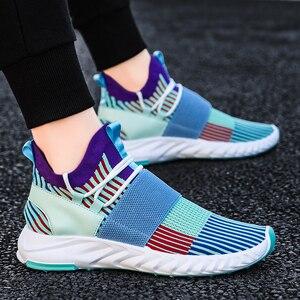 Image 2 - Socke Schuhe Mesh Turnschuhe Neuheiten Casual Flache Müßiggänger Mode Tenis Masculino Adulto Atmungsaktiv Männer Turnschuhe Slip auf Schuhe