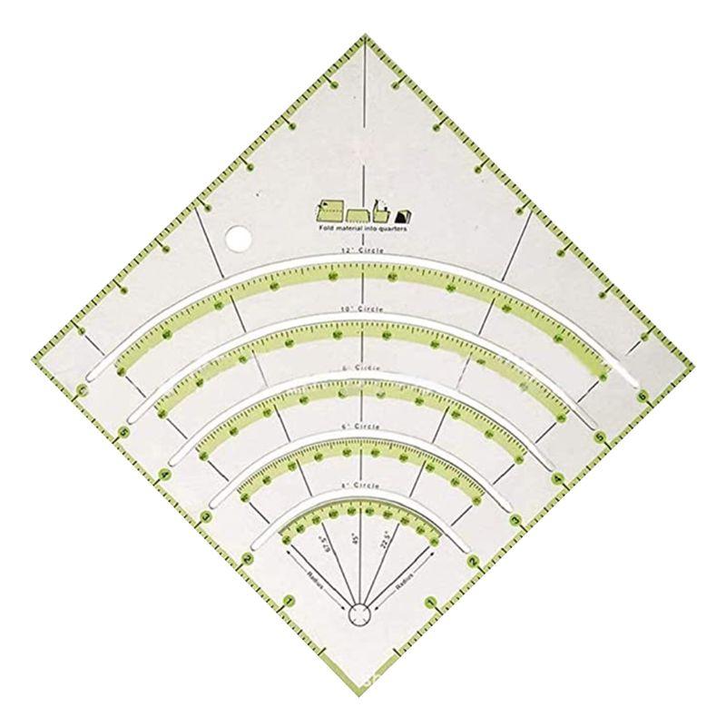 Arcs & Fans Quilt Circle Cutter Ruler,Multifunctional Arc Cutting Patchwork Rule Q1JB