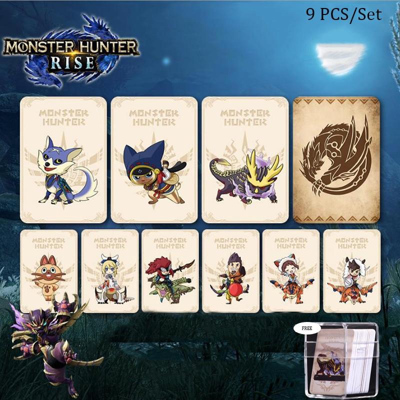 Карточка для игр Monster Hunter Rise Amiibo, 9 шт., полный набор для Nintendo Switch NFC Monster Hunter Ailu Cat NS, награда за игру