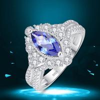 J.C Marquise Cut Tanzanite & White Topaz 925 Sterling Silver Ring Size 6 7 8 9 Women Wedding Cocktail Jewelry Gift