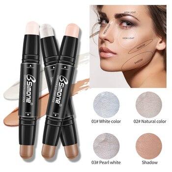 Facial Double-head Highlight Foundation Base Contour Stick Pen Bronzer Shimmer Shine Face Makeup Color Corrector Cosmetic TSLM2 1