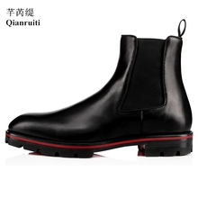 Qianruiti Men Chelsea Boots Elastic Band Male ankle boots Shoes Low-heeled Handmade High Quality