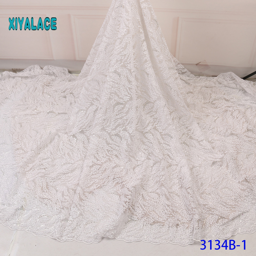 Luxury Pure White African Mesh Lace Fabrics 2019 High Quality Nigerian French Tulle Lace With Stones Net Lace Fabric YA3134B-1