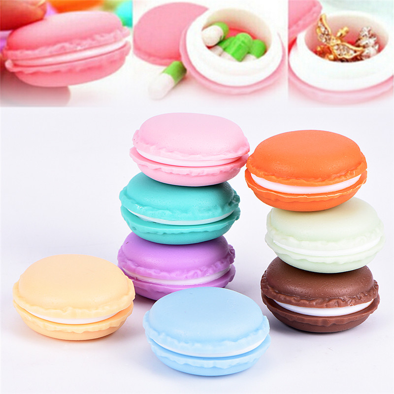 Cute Macarons Carrying Case Earrings Necklace Organizer Bags Mini Round Jewely Storage Box Color Random