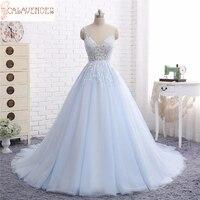 Princess Sheer Neck Ball Gown Wedding Dresses Floral Appliques Light Blue Wedding Dress Puffy vestidos de novia para boda civil