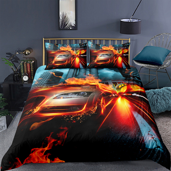 King Size Bedding Set Burning Car High End Cool Fashionable Duvet Cover 3D Queen Twin Full Single Double Unique Design Bed Set