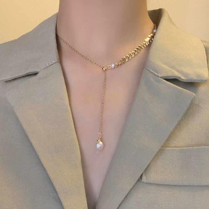 Kpop جديد اللؤلؤ قلادة المختنق قلادة المرأة الذهب اللون سلسلة الكورية فتاة مجوهرات الأزياء 2020 جديد Naszyjniki كولير بالجملة