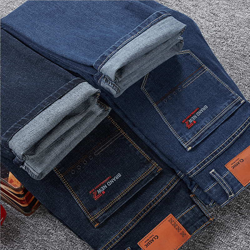 Autumn And Winter Thick Section High Waist Straight-Cut Lard-bucket Cowboy Pants Men Elasticity Loose Large Size Plus-sized
