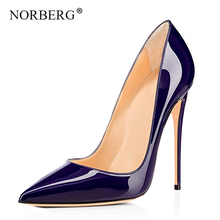 NORBERG new women's shoes high heels 12 cm high heels pointed toe female sexy ladies wedding shoes leather shoes women pointed toe high heels new arrival white pearl wedding shoes mother of the bride shoes rhinestone comfortable performance shoes
