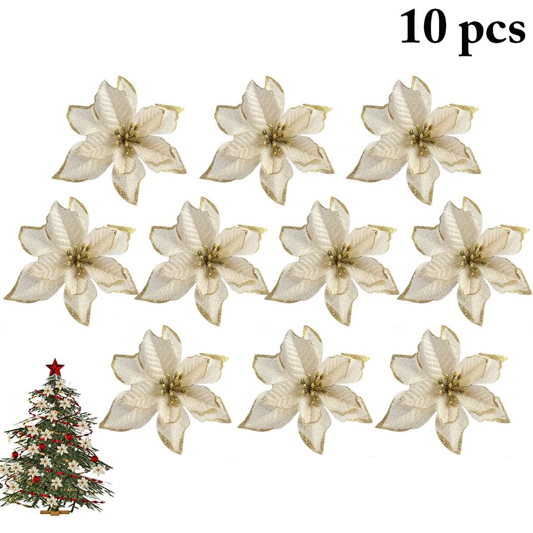10pcs Xmas Glitter Snowflake Christmas Tree Ornaments Party Festival Home Decor