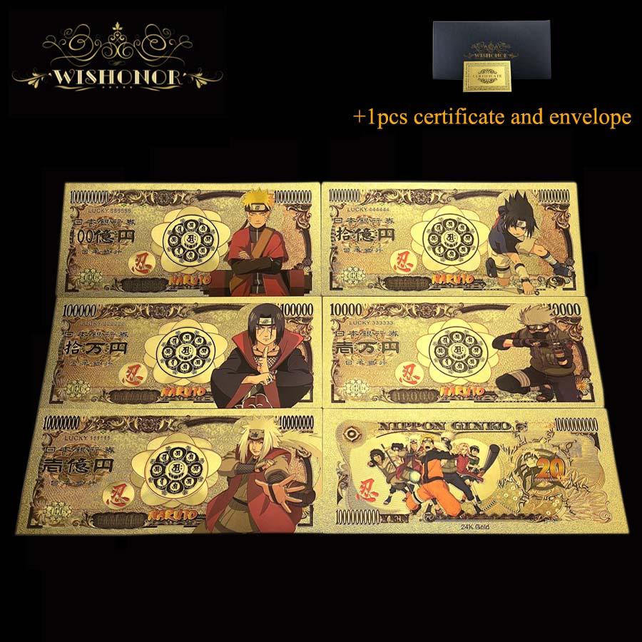 5 unids/lote 2020 nuevo Japón Anime billete Naruto billete de Yen billetes de dinero para la colección
