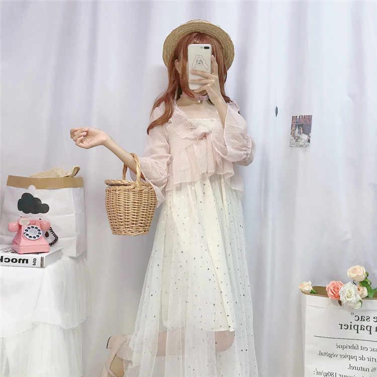 2020 süße Fee von Frilled Stern Pailletten Mesh Rock Geschnallt lolita Kleid Outdoor Strickjacke Kurzen Mantel Fee Sommer