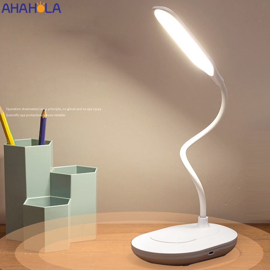 Светодиодная настольная лампа с Usb-портом для зарядки, аккумуляторные Настольные лампы с Usb-портом для обучения и чтения, 5 в постоянного ток...