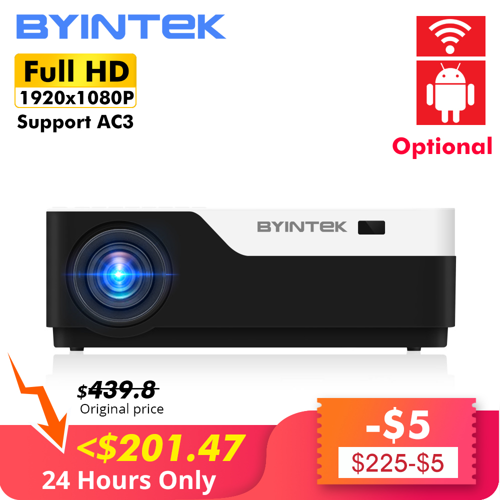 BYINTEK LUA K11 200 polegada 1920x1080 1080P FULL HD LED Projetor de Vídeo com HD USB Para O Jogo filme Cinema Home Theater