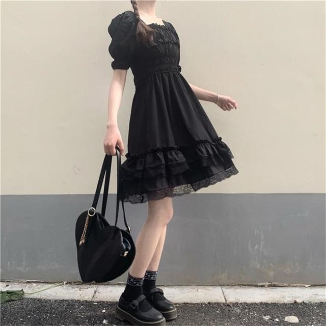 Japanese Lolita Style Women Princess Black Mini Dress Slash Neck High Waist Gothic Dress Puff Sleeve Lace Ruffles Party Dresses 6