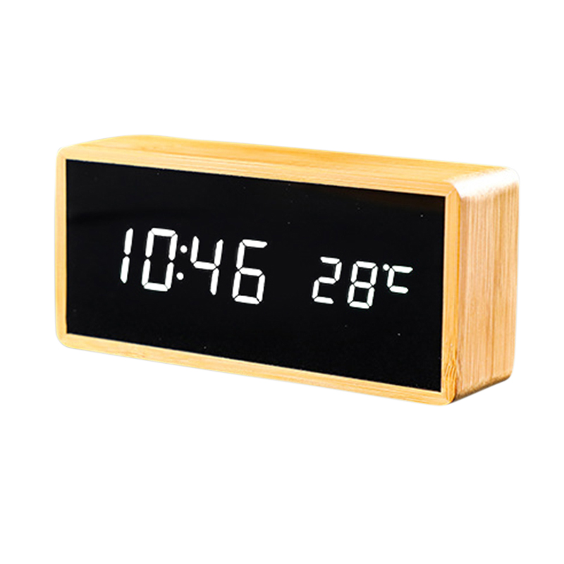 100% Bamboo LED Alarm Clocks Temperature Humidity Multifunction Digital Wooden Snooze Clock Voice Control Living Room Decoration image