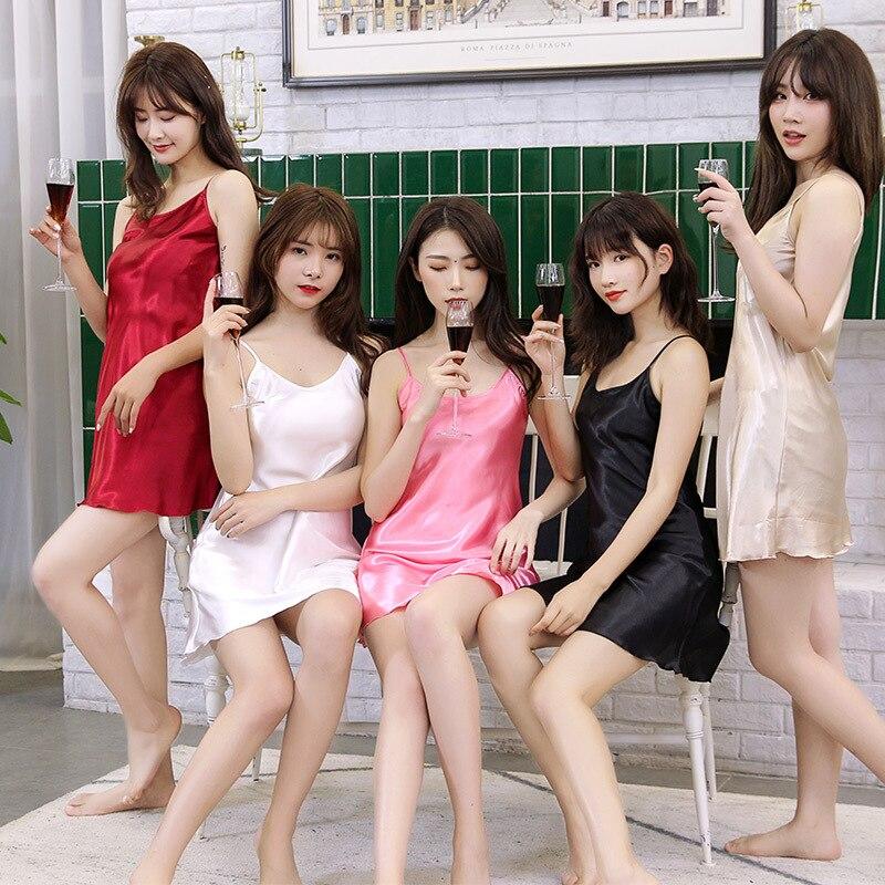 Women's Silk Series Celebrity Style Pajamas Sexy Imitated Silk Fabric Silk Fabrics Camisole Slip Dress Vest Short Nightgown