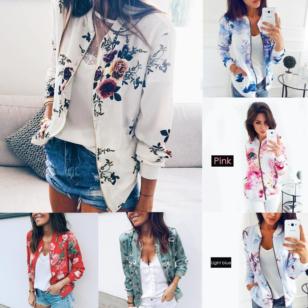 Print Jacket Women Flowers Zipper Up Retro Coat Autumn Summer Long Sleeve Slim Basic Plus Size Short Baseball Jackets Female