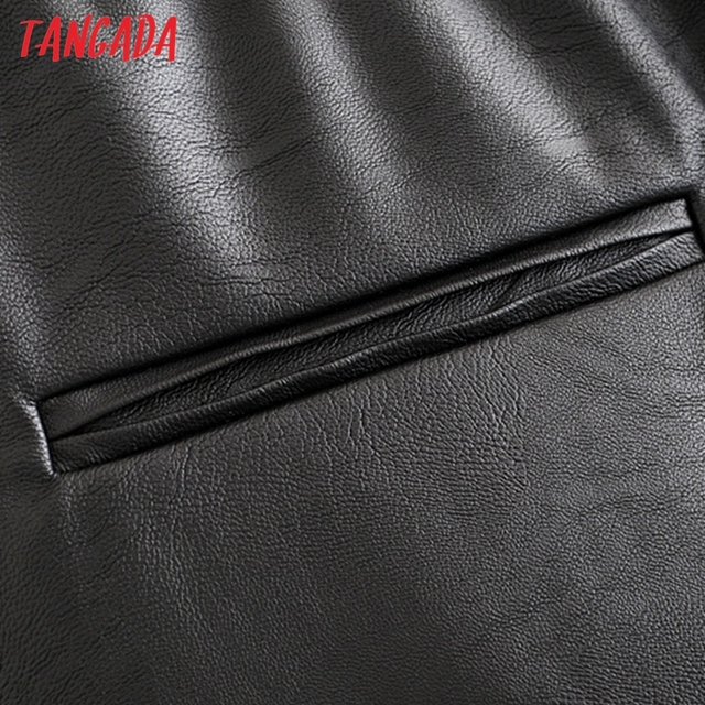 Tangada women black PU leather pants stretch waist drawstring tie pockets female autumn winter elegant trousers HY02 6