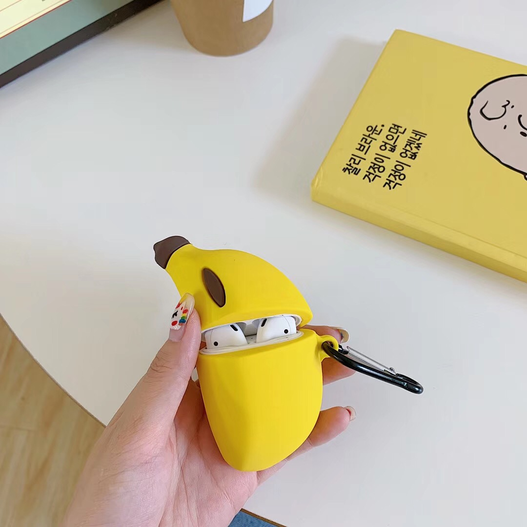 For AirPods Case Cartoon Funny Banana/Avocado Pattern Protection Silicone Case For Air Pods 2 Case Earphone Case Wiht Hook Funda