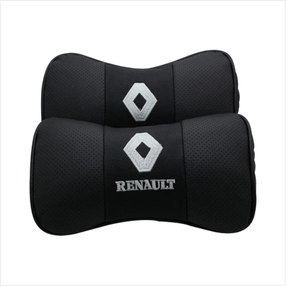 Car Neck Pillow Genuine Leather Seat Headrest Pillows Cushion For Renault BMW Toyota Nissan Volkswagen Mazda Hyundai Honda Kia