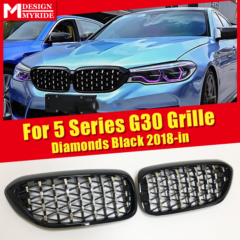 Fits For <font><b>BMW</b></font> <font><b>G30</b></font> G31 Pair black grill grille Diamonds style ABS 5 Series 520i 530i <font><b>540i</b></font> Front Kidney Grills New design 2018-in image
