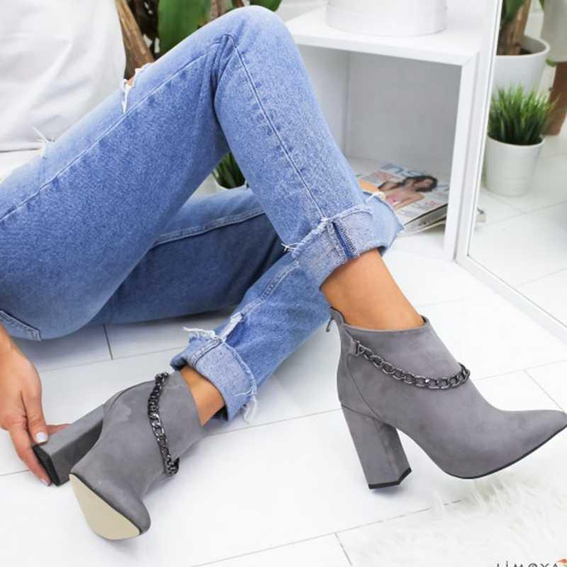LITTHING Kadın Ayakkabı Kış Sonbahar Kadın Botas Ayakkabı Rahat Kadın Yüksek Topuklu Pompalar Sıcak yarım çizmeler Mujer Zapatos Boyutu 35- 43