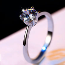 Luxury Female Small CZ Diamond Stone Ring Real 925 Sterling Silver Engagement Ring Solitaire Wedding Rings For Women(China)
