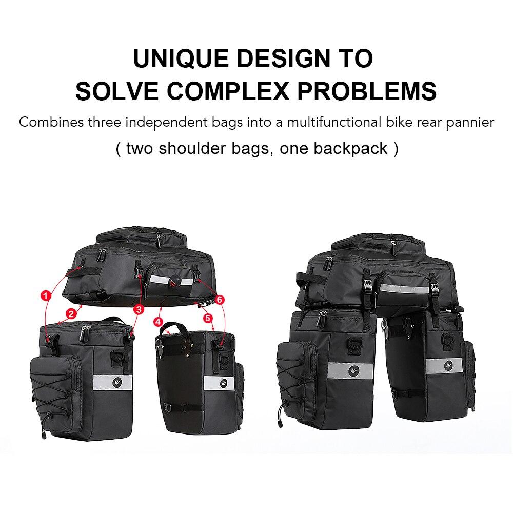 Sac arrière de vélo multifonctionnel 3 en 1 sac à bandoulière de vélo étanche sac de selle de vélo sac de coffre de sacoche de porte bagages de bicyclette - 3