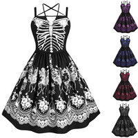 Halloween A-line Dress Women Gothic Skull Skeleton Print Spaghetti Strapless High Waist Halter Dresses Fashion Vestidos