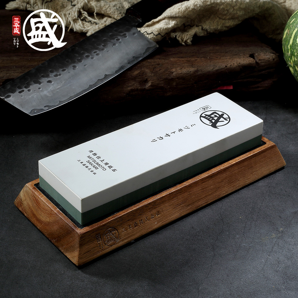 MITSUMOTO SAKARI 1000 <font><b>3000</b></font> <font><b>8000</b></font> 10000 <font><b>grit</b></font> Japanese Double-sided sharpening stone For Knives With Non-Slip rubber and wood base image