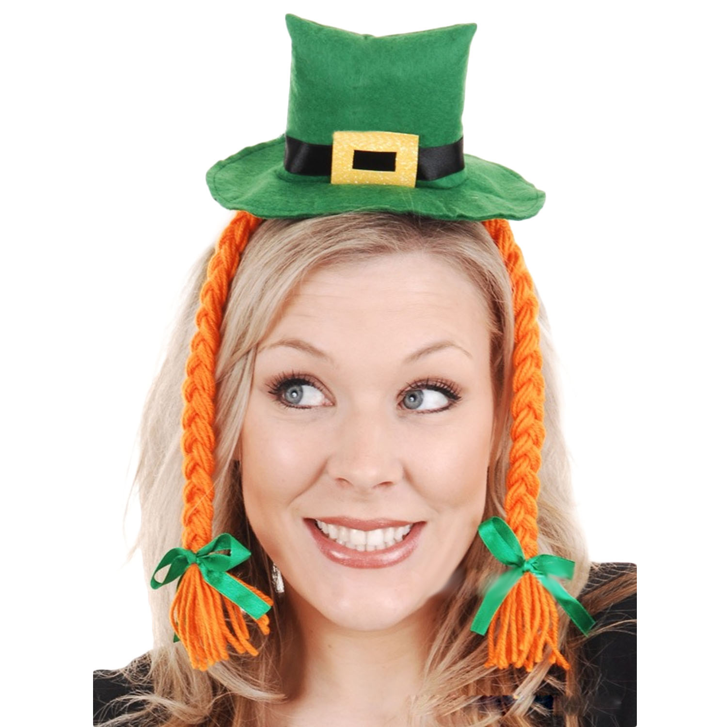 Cute Irish Saint St Patricks Day Shamrock Lucky Charm Green Cap Style Hair Hoop Headwear With Braid Festival Costume Accessories