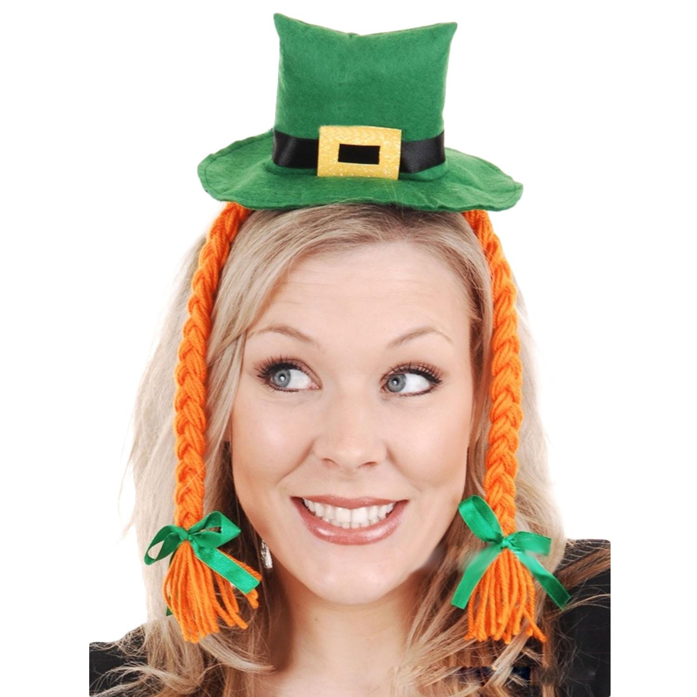 Cute Irish Saint St Patricks Day Shamrock Lucky Charm Green Cap Style Hair Hoop Headwear With Braid Festival Costume Accessories