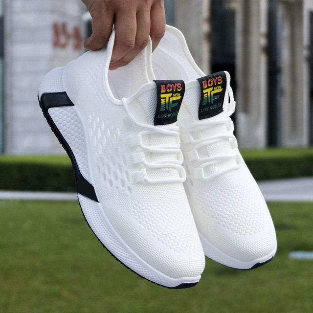 2021 new sports shoes men's breathable casual mesh shoes comfort increase lace-up non-slip low-top running shoes 1