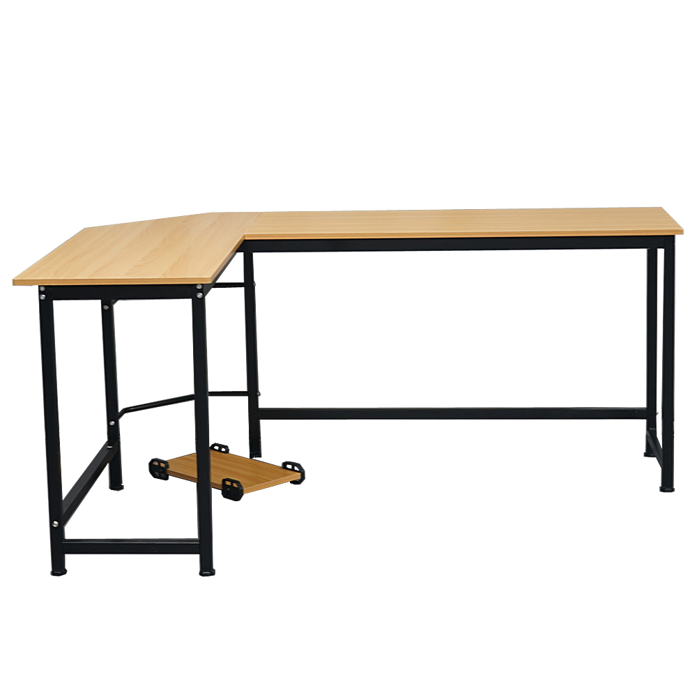 【US Warehouse】L-Shaped Desktop Computer Desk Beech Wood Color(Computer Desk Table)