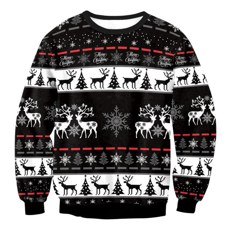 Ugly Christmas Sweaters Men Women Holiday Christmas Tree Reindeer Snowflakes Sweater Pullover Jumpers 3D Funny Xmas Sweatshirt