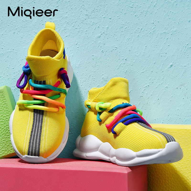 Boys Girls Breathable Children Sneakers Kids Casual Knit Soft Anti-Slip Running Sports Shoes Lightweight Baby Toddler Sock Boots