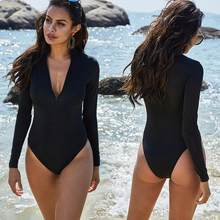YY32 Swimsuit For Woman Bikinis Set Plus Size Fat Beach Clothes Black S M L-5XL Female Long Sleeves Closed Bathing Suit Zipper(China)