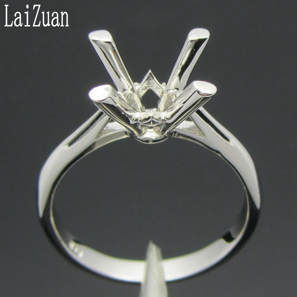 LaiZuan 925 Sterling Silver Ring Round Cut 8mm Elegant Wedding Engagement Semi Mount Ring Women Trendy Fine Jewelry Wholesale