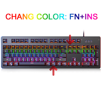 Gaming Mechanical Keyboard Punk Round Retro Keycap Backlit USB Wired Computer Peripherals 2