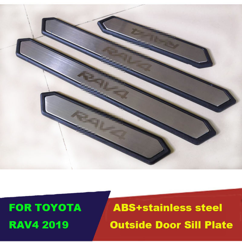 Car Accessories 4PCS Built in Stainless Steel Door Sill Scuff Plate Welcome Pedal For Toyota RAV4