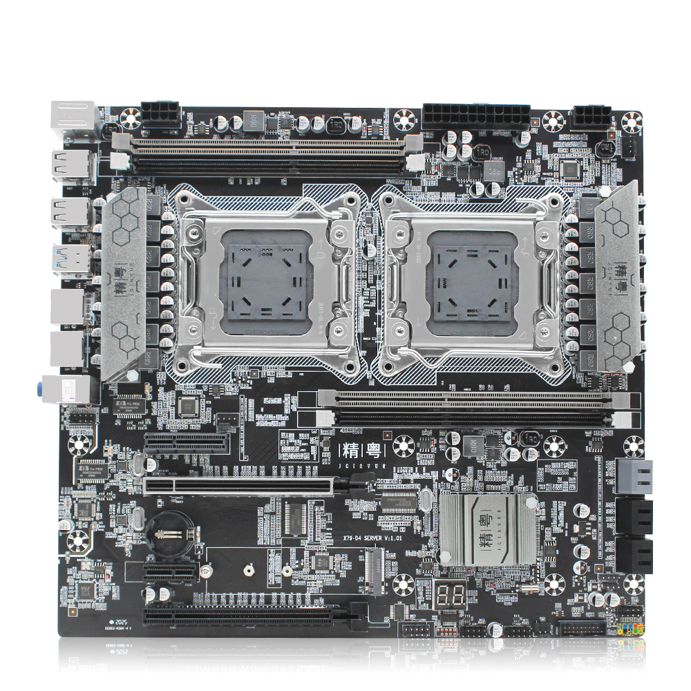 JGINYUE X79 dual CPU motherboard LGA 2011 For i7 Xeon E5 V1&V2 processor DDR3 256G ECC/NON-ECC memory dual Giga LAN X79-D4 3