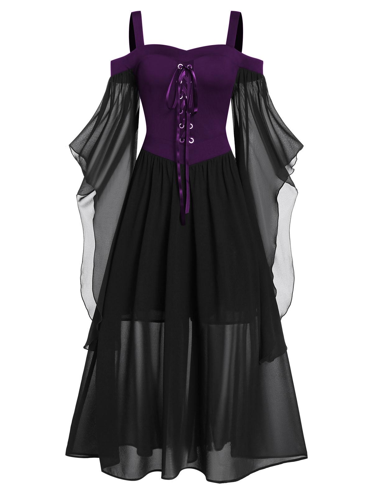 Rosegal 5XL grande taille Maxi robe froide épaule papillon manches à lacets robe d'halloween gothique fête femmes robe Vintage - 5