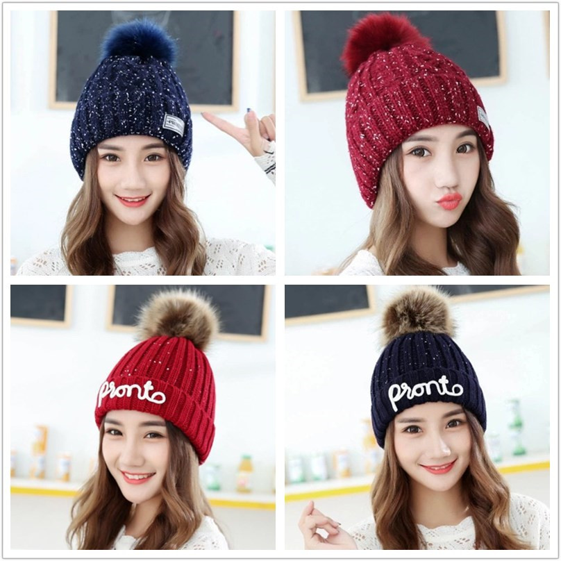 New Ladies Knit Hat Autumn and Winter Hats Skullies Warm Wool Cotton Cap Beanie Gorras Caps for Women
