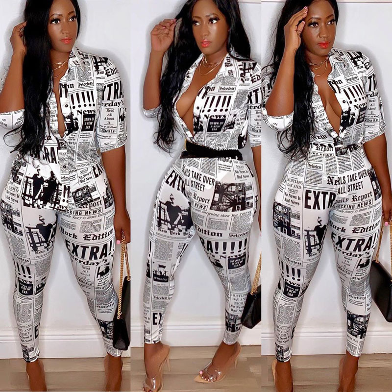 Summer Style Women Two Piece Outfits Fashion Letter Print Blouse Long Pant Sporting Suit Set Female Casual Sweatsuit DG284