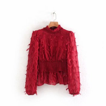 ¡Novedad de 2020! Elegantes blusas elegantes para mujer, con cintura elástica, con cuello levantado y volantes, camisetas chemise LS6088