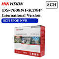 In magazzino Trasporto libero versione Inglese DS-7608NI-K2/8 P 8CH 4K NVR 2 porte SATA con 8POE Incorporato plug & Play 4K NVR
