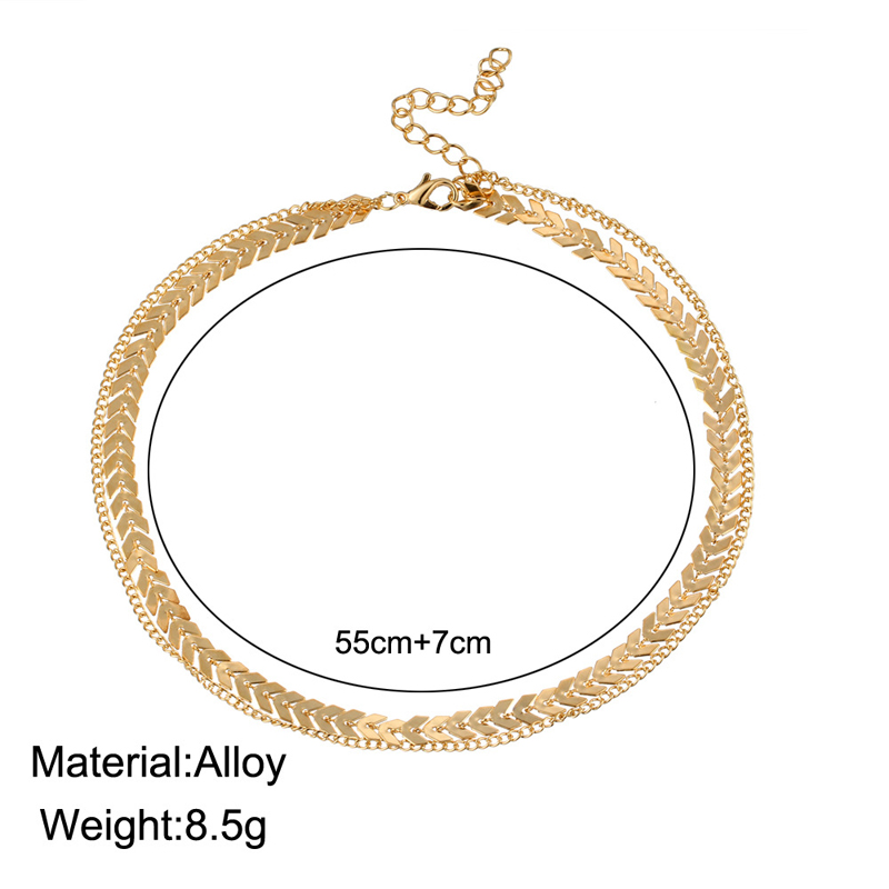 2019 New Chain Choker Two Layers Necklaces Fishbone Airplane Shape Gold Color Necklace Flat Chain jewelry 1
