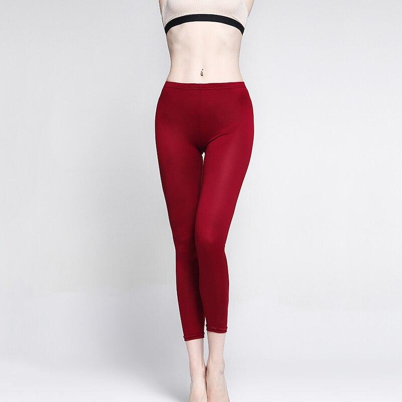 Women Legging Fashion Soft Black/ Wine Red Waist High Waist Leggings Elasticity Casual Solid Leggings For Feminina